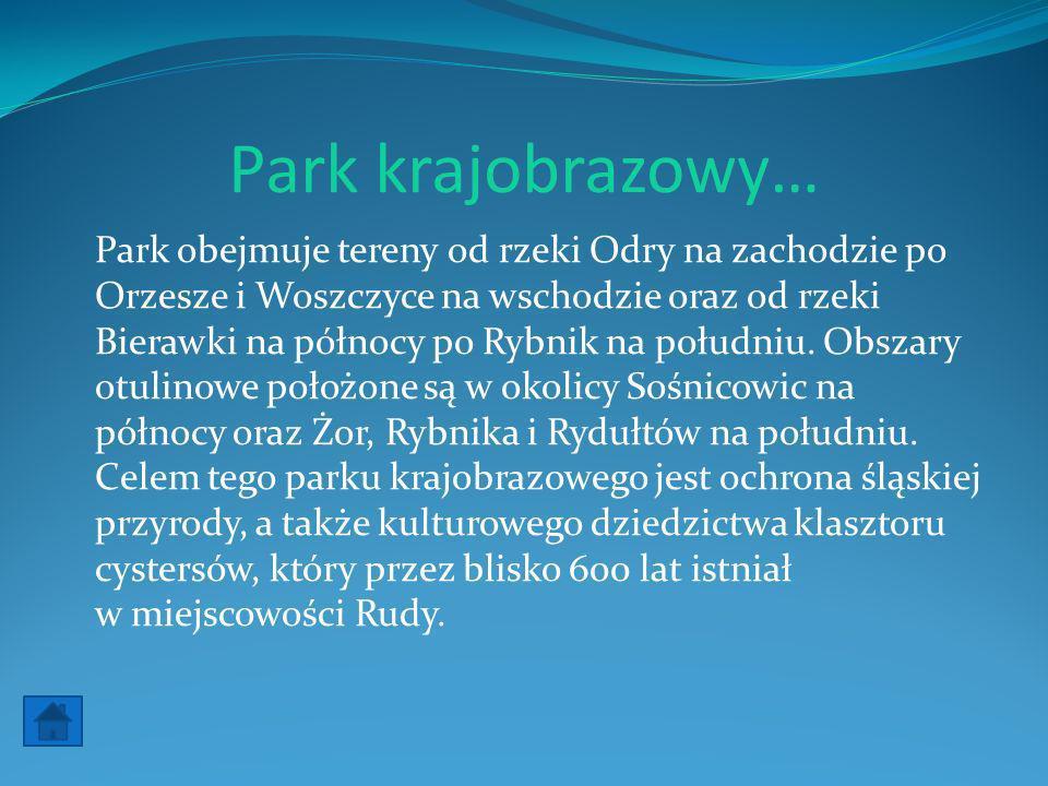 Park krajobrazowy… Park obejmuje tereny od rzeki Odry na zachodzie po Orzesze i Woszczyce na wschodzie oraz od rzeki Bierawki na północy po Rybnik na