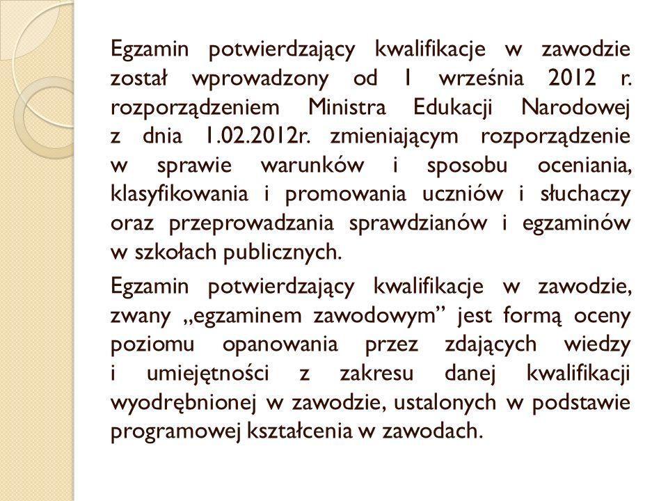 Egzamin potwierdzający kwalifikacje w zawodzie został wprowadzony od 1 września 2012 r. rozporządzeniem Ministra Edukacji Narodowej z dnia 1.02.2012r.