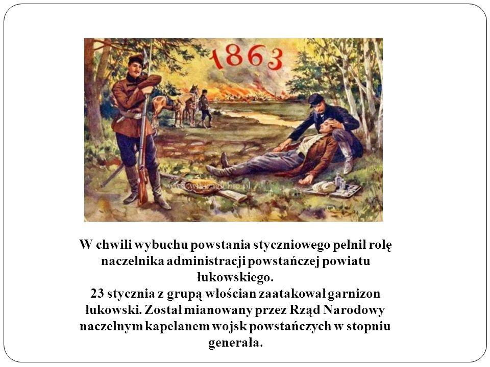 W chwili wybuchu powstania styczniowego pełnił rolę naczelnika administracji powstańczej powiatu łukowskiego. 23 stycznia z grupą włościan zaatakował