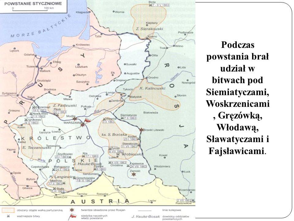Podczas powstania brał udział w bitwach pod Siemiatyczami, Woskrzenicami, Gręzówką, Włodawą, Sławatyczami i Fajsławicami.