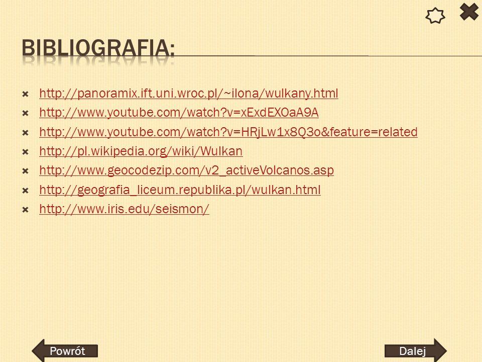 http://panoramix.ift.uni.wroc.pl/~ilona/wulkany.html http://www.youtube.com/watch?v=xExdEXOaA9A http://www.youtube.com/watch?v=HRjLw1x8Q3o&feature=rel