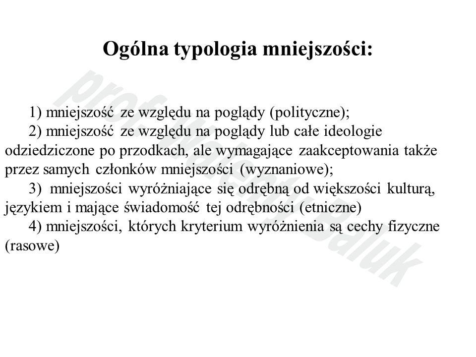 Ogólna typologia mniejszości: 1) mniejszość ze względu na poglądy (polityczne); 2) mniejszość ze względu na poglądy lub całe ideologie odziedziczone p
