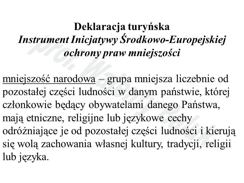 Deklaracja turyńska Instrument Inicjatywy Środkowo-Europejskiej ochrony praw mniejszości mniejszość narodowa – grupa mniejsza liczebnie od pozostałej