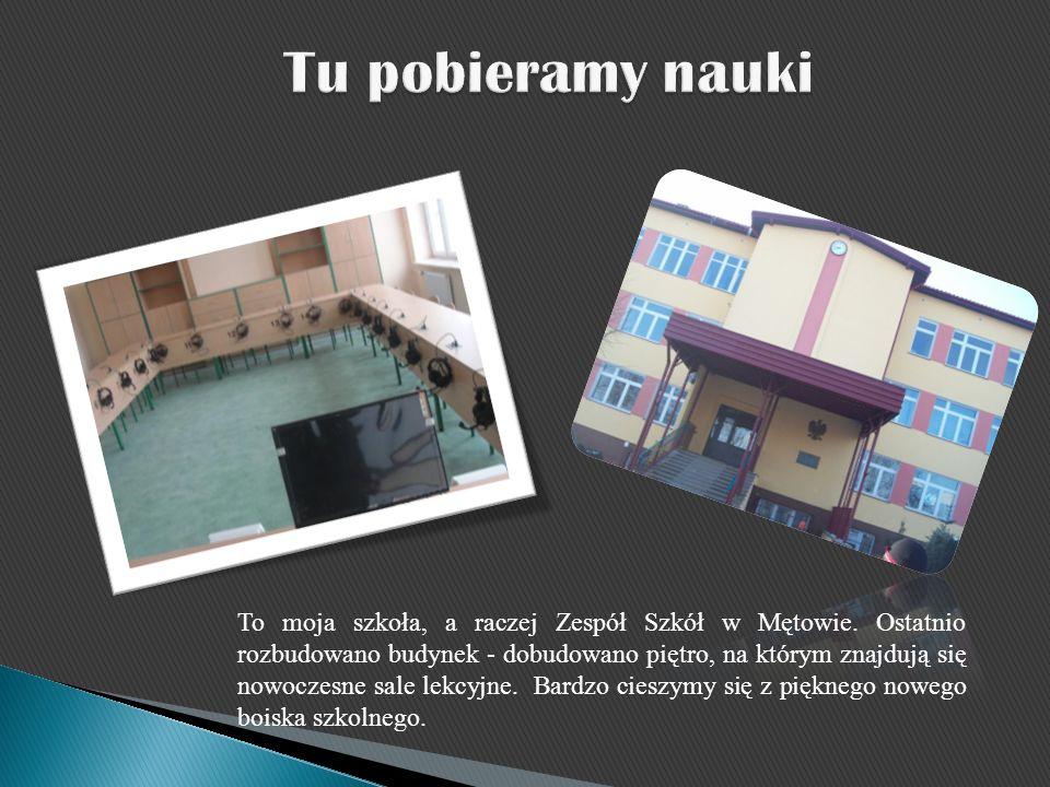 To moja szkoła, a raczej Zespół Szkół w Mętowie. Ostatnio rozbudowano budynek - dobudowano piętro, na którym znajdują się nowoczesne sale lekcyjne. Ba