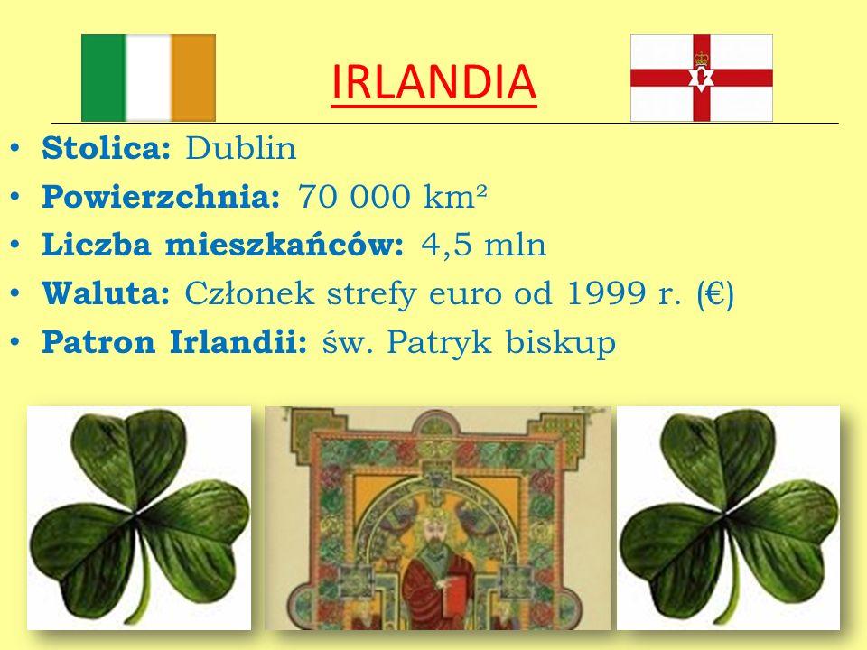 IRLANDIA Stolica: Dublin Powierzchnia: 70 000 km² Liczba mieszkańców: 4,5 mln Waluta: Członek strefy euro od 1999 r. () Patron Irlandii: św. Patryk bi