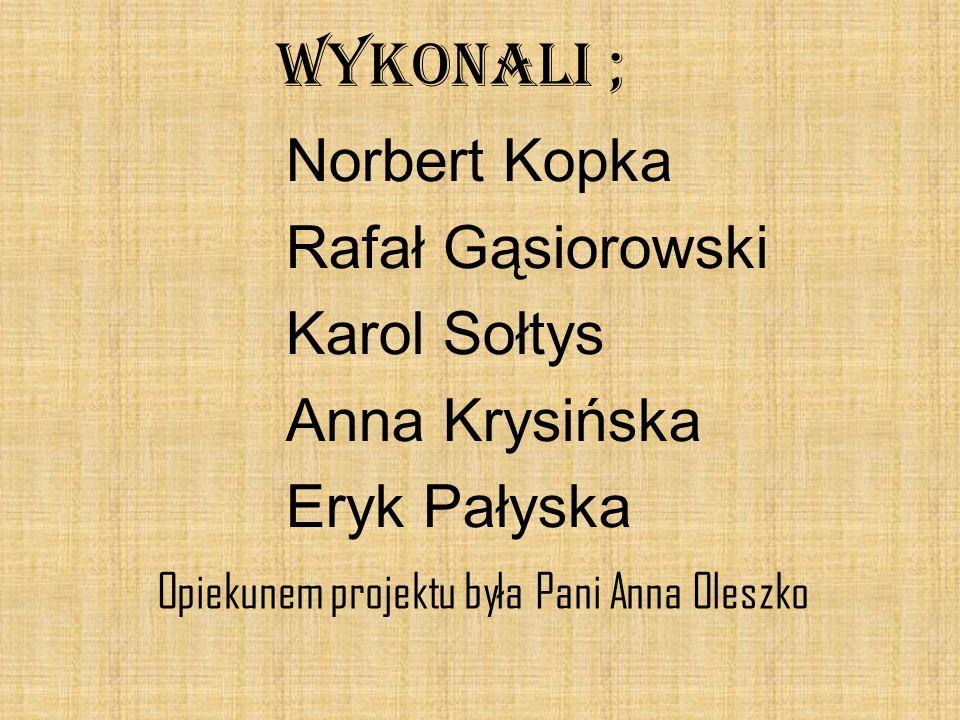 WYKONALI ; Norbert Kopka Rafał Gąsiorowski Karol Sołtys Anna Krysińska Eryk Pałyska Opiekunem projektu była Pani Anna Oleszko