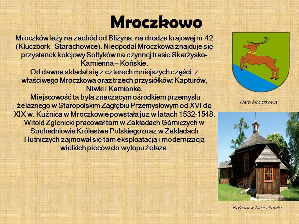 Mroczków leży na zachód od Bliżyna, na drodze krajowej nr 42 (Kluczbork– Starachowice). Nieopodal Mroczkowa znajduje się przystanek kolejowy Sołtyków