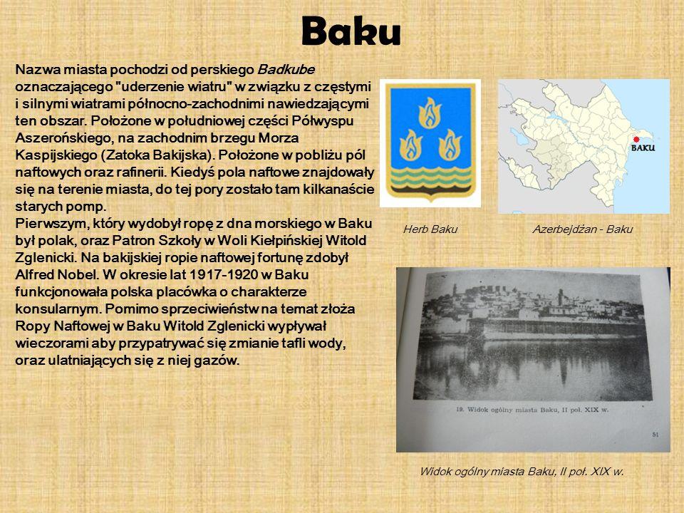Baku Nazwa miasta pochodzi od perskiego Badkube oznaczającego