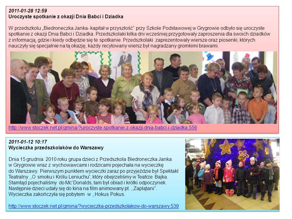 2011-01-28 12:59 Uroczyste spotkanie z okazji Dnia Babci i Dziadka W przedszkolu Biedroneczka Janka- kapitał w przyszłość przy Szkole Podstawowej w Gr