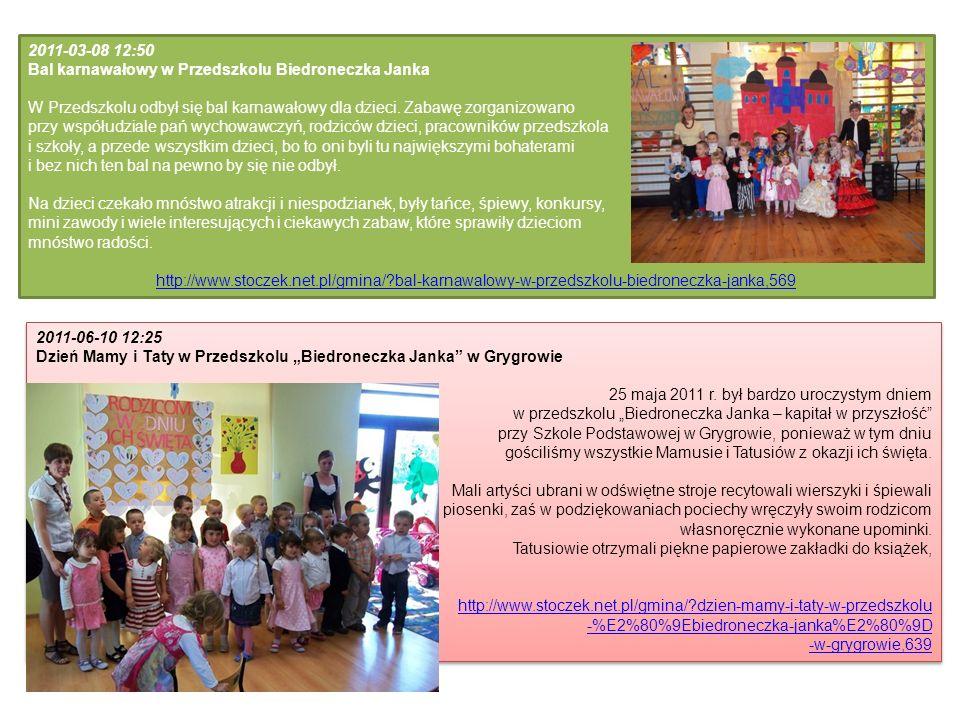 2011-03-08 12:50 Bal karnawałowy w Przedszkolu Biedroneczka Janka W Przedszkolu odbył się bal karnawałowy dla dzieci. Zabawę zorganizowano przy współu