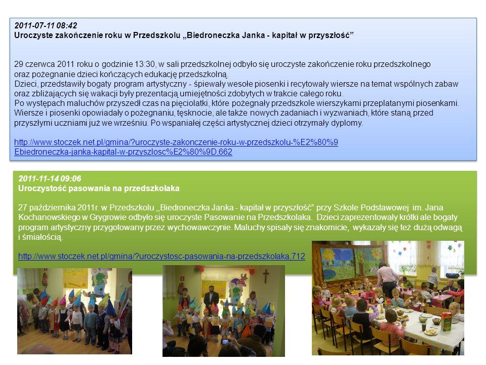 2011-07-11 08:42 Uroczyste zakończenie roku w Przedszkolu Biedroneczka Janka - kapitał w przyszłość 29 czerwca 2011 roku o godzinie 13:30, w sali prze