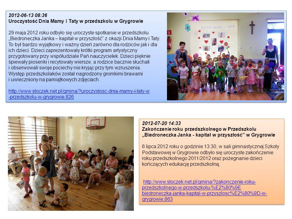 2012-06-13 08:36 Uroczystość Dnia Mamy i Taty w przedszkolu w Grygrowie 29 maja 2012 roku odbyło się uroczyste spotkanie w przedszkolu Biedroneczka Ja
