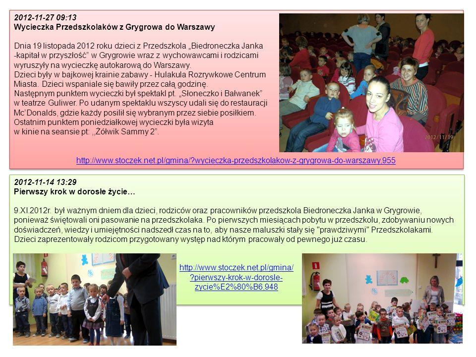 2012-11-27 09:13 Wycieczka Przedszkolaków z Grygrowa do Warszawy Dnia 19 listopada 2012 roku dzieci z Przedszkola Biedroneczka Janka -kapitał w przysz