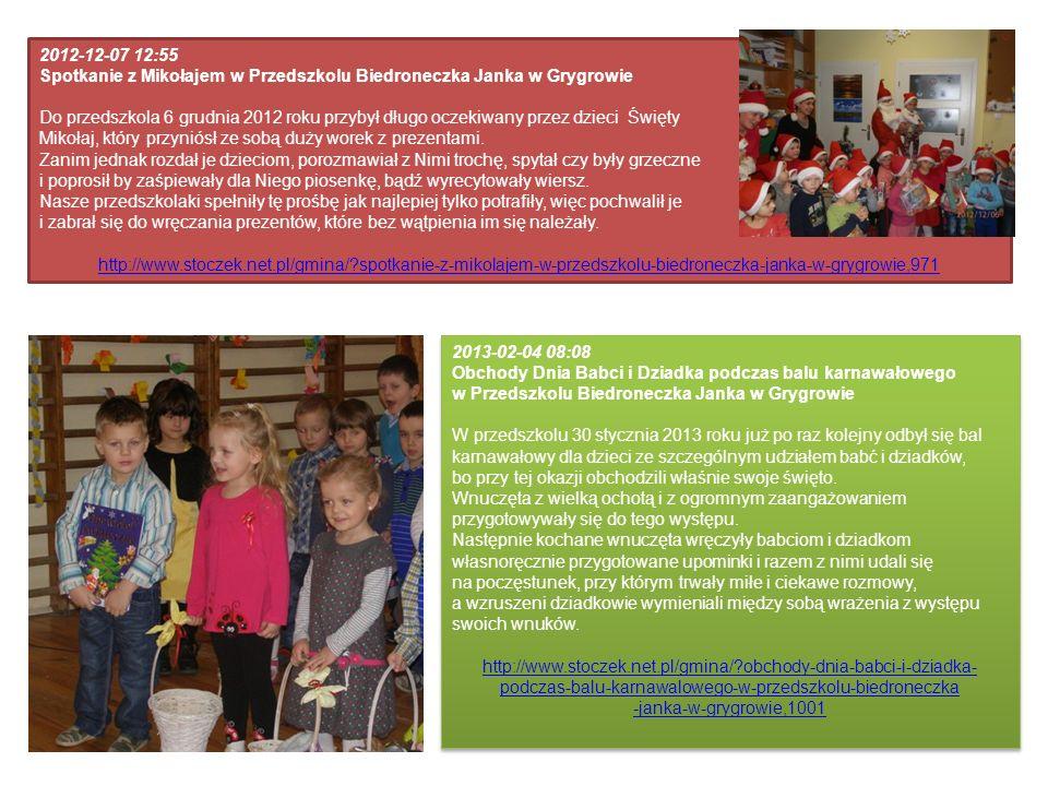 2012-12-07 12:55 Spotkanie z Mikołajem w Przedszkolu Biedroneczka Janka w Grygrowie Do przedszkola 6 grudnia 2012 roku przybył długo oczekiwany przez