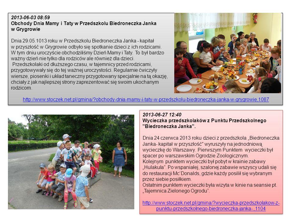 2013-06-03 08:59 Obchody Dnia Mamy i Taty w Przedszkolu Biedroneczka Janka w Grygrowie Dnia 29.05.1013 roku w Przedszkolu Biedroneczka Janka - kapitał