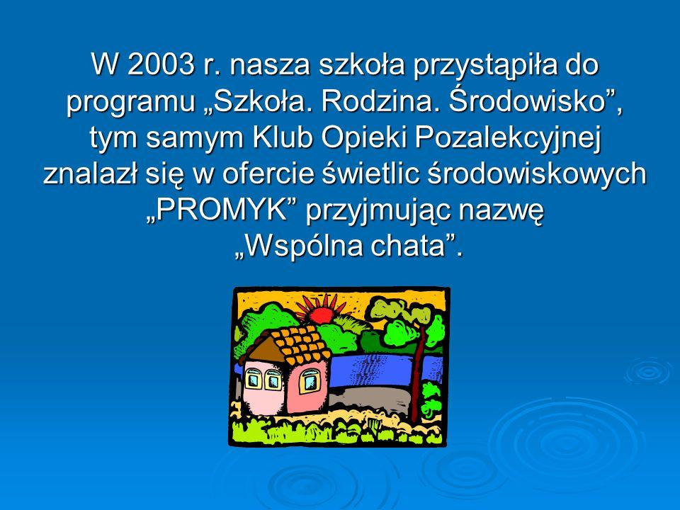 W 2003 r. nasza szkoła przystąpiła do programu Szkoła. Rodzina. Środowisko, tym samym Klub Opieki Pozalekcyjnej znalazł się w ofercie świetlic środowi