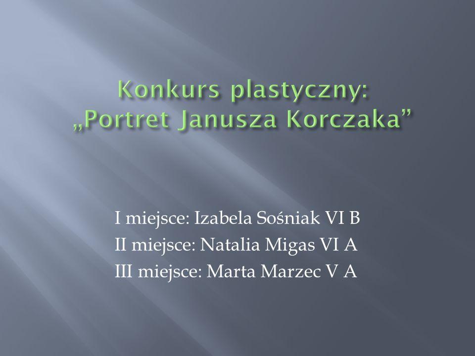 I miejsce: Izabela Sośniak VI B II miejsce: Natalia Migas VI A III miejsce: Marta Marzec V A