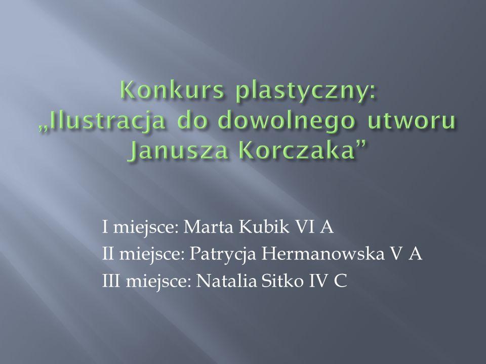 I miejsce: Marta Kubik VI A II miejsce: Patrycja Hermanowska V A III miejsce: Natalia Sitko IV C