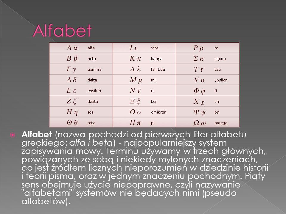 Alfabet (nazwa pochodzi od pierwszych liter alfabetu greckiego: alfa i beta) - najpopularniejszy system zapisywania mowy. Terminu używamy w trzech głó