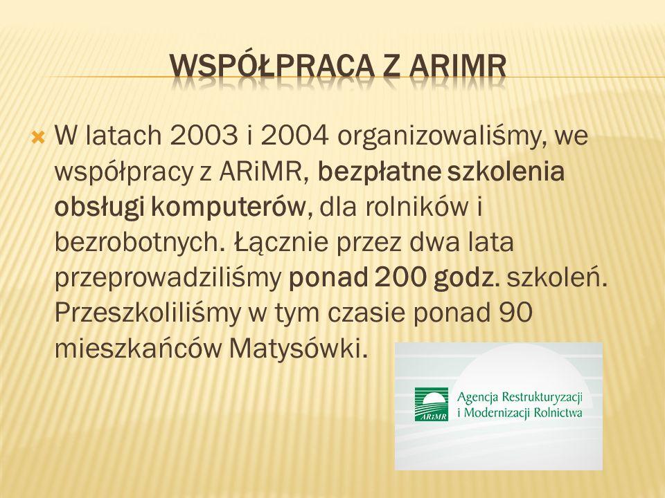 W latach 2003 i 2004 organizowaliśmy, we współpracy z ARiMR, bezpłatne szkolenia obsługi komputerów, dla rolników i bezrobotnych.