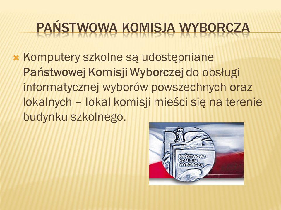 Komputery szkolne są udostępniane Państwowej Komisji Wyborczej do obsługi informatycznej wyborów powszechnych oraz lokalnych – lokal komisji mieści się na terenie budynku szkolnego.