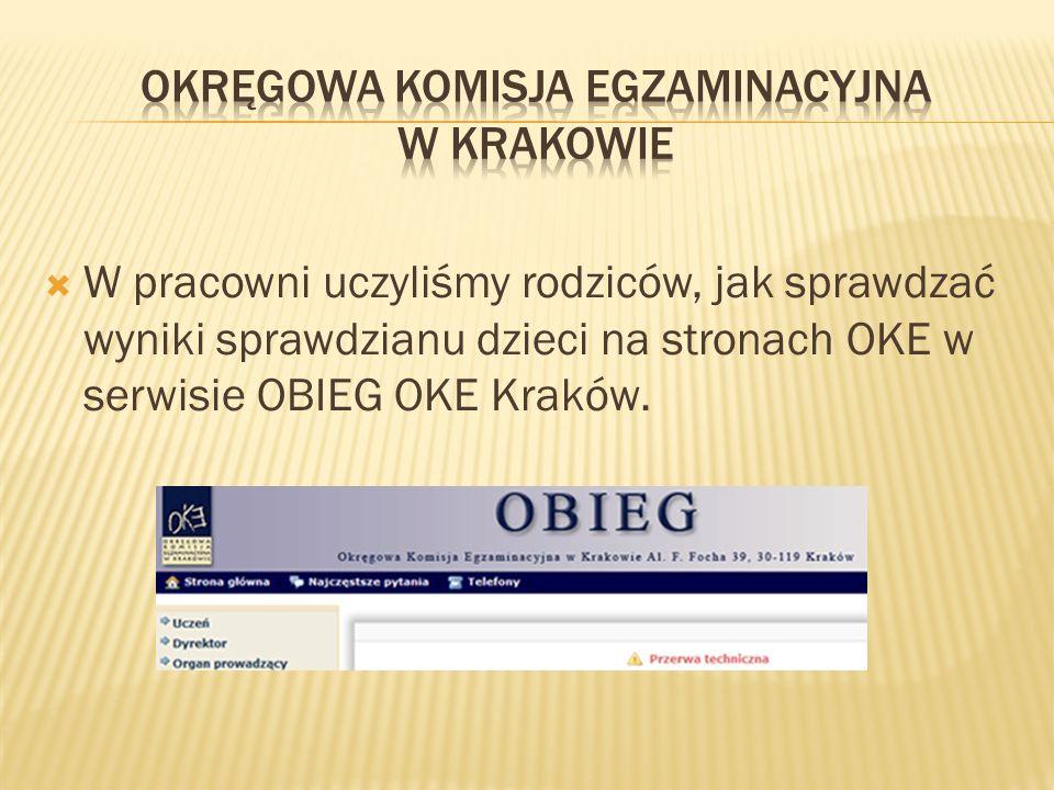 W pracowni uczyliśmy rodziców, jak sprawdzać wyniki sprawdzianu dzieci na stronach OKE w serwisie OBIEG OKE Kraków.