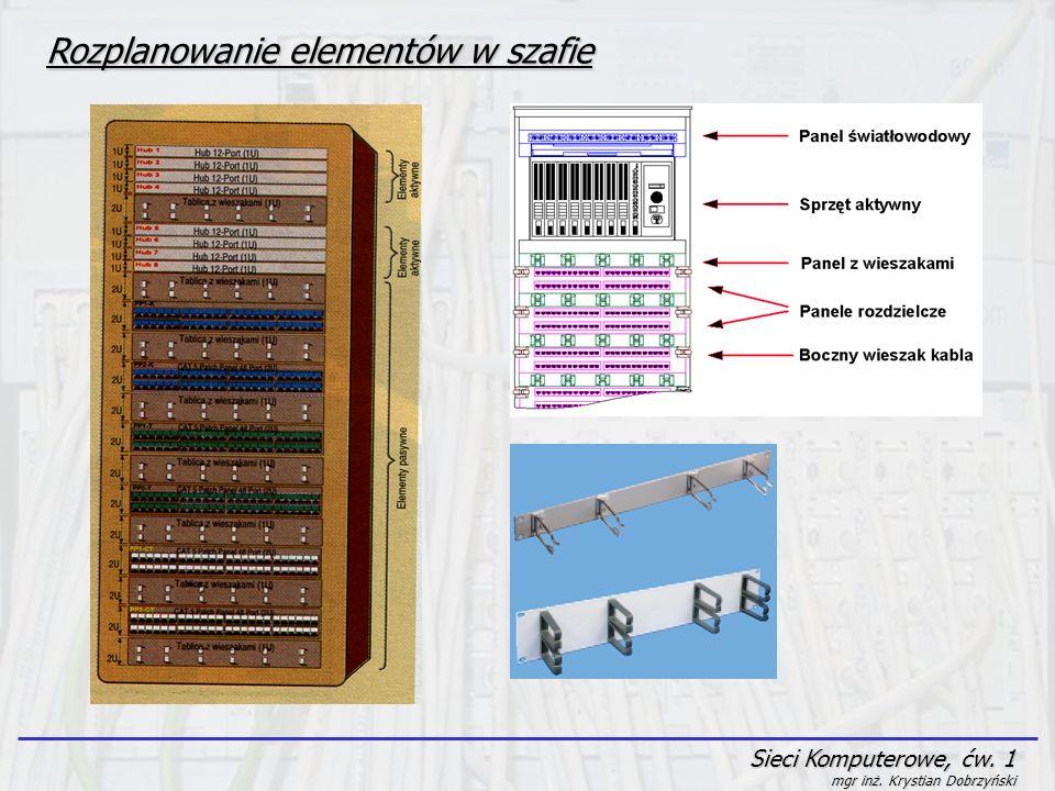 Sieci Komputerowe, ćw. 1 mgr inż. Krystian Dobrzyński Rozplanowanie elementów w szafie