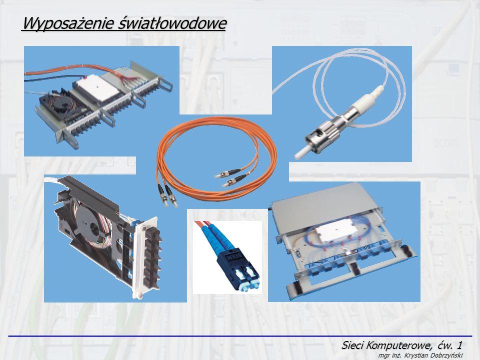 Sieci Komputerowe, ćw. 1 mgr inż. Krystian Dobrzyński Wyposażenie światłowodowe