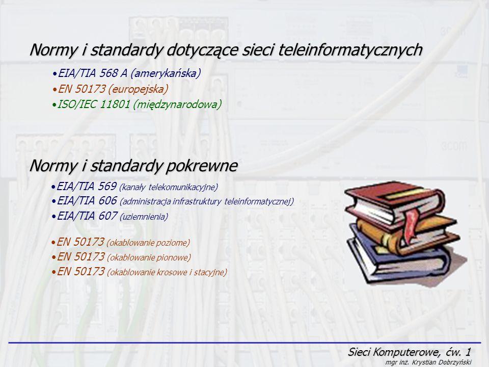 Sieci Komputerowe, ćw. 1 mgr inż. Krystian Dobrzyński Normy i standardy dotyczące sieci teleinformatycznych EIA/TIA 568 A (amerykańska) EN 50173 (euro