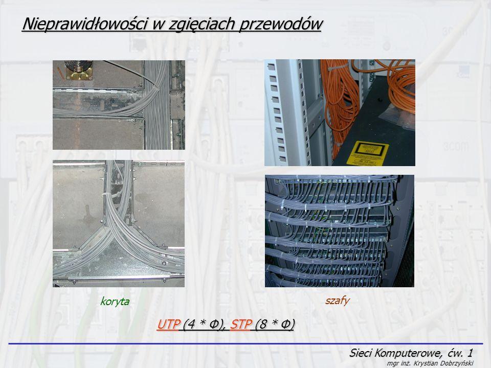 Sieci Komputerowe, ćw. 1 mgr inż. Krystian Dobrzyński Nieprawidłowości w zgięciach przewodów koryta szafy UTP (4 * Φ), STP (8 * Φ)