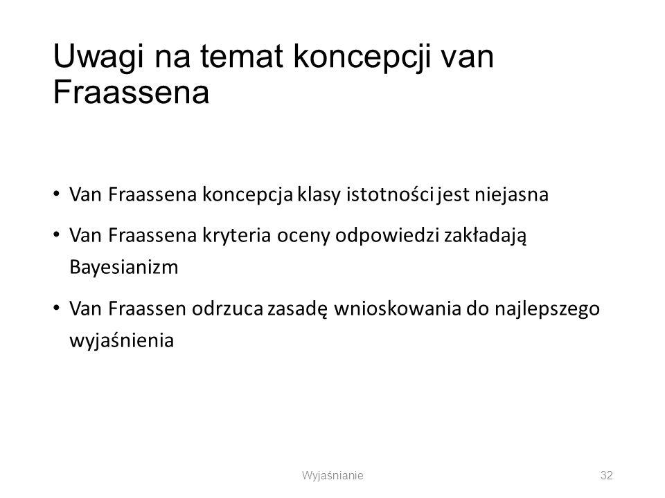 Uwagi na temat koncepcji van Fraassena Van Fraassena koncepcja klasy istotności jest niejasna Van Fraassena kryteria oceny odpowiedzi zakładają Bayesi