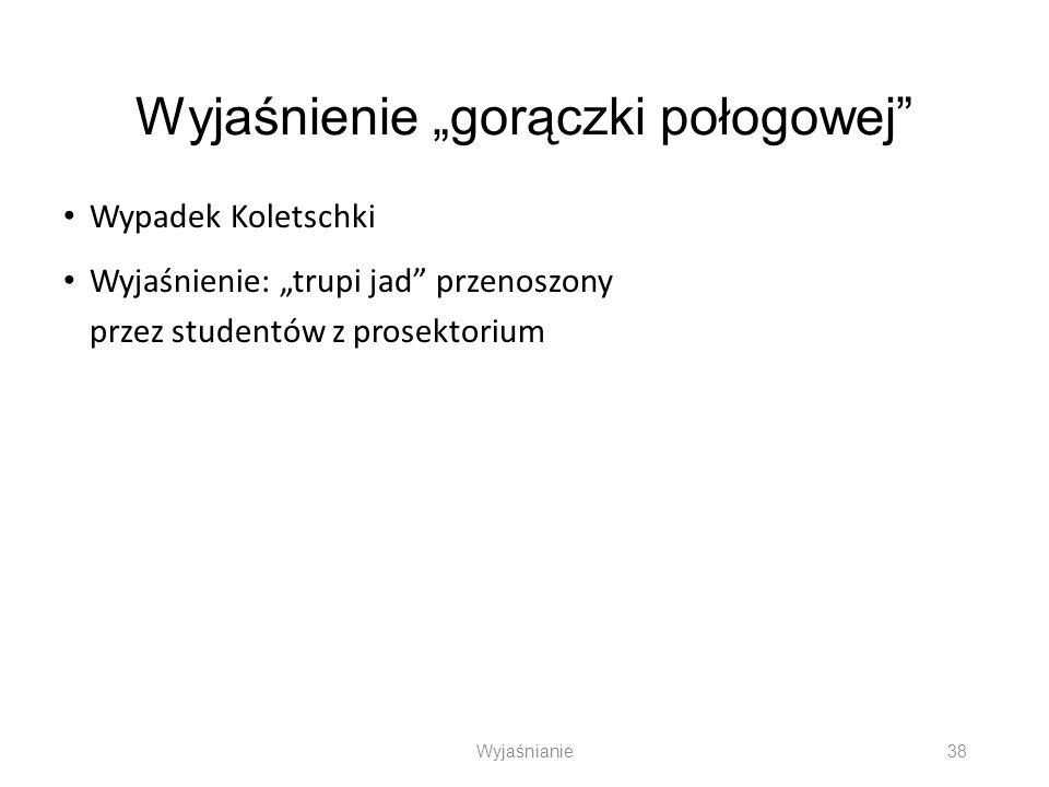 Wyjaśnienie gorączki połogowej Wypadek Koletschki Wyjaśnienie: trupi jad przenoszony przez studentów z prosektorium Wyjaśnianie 38