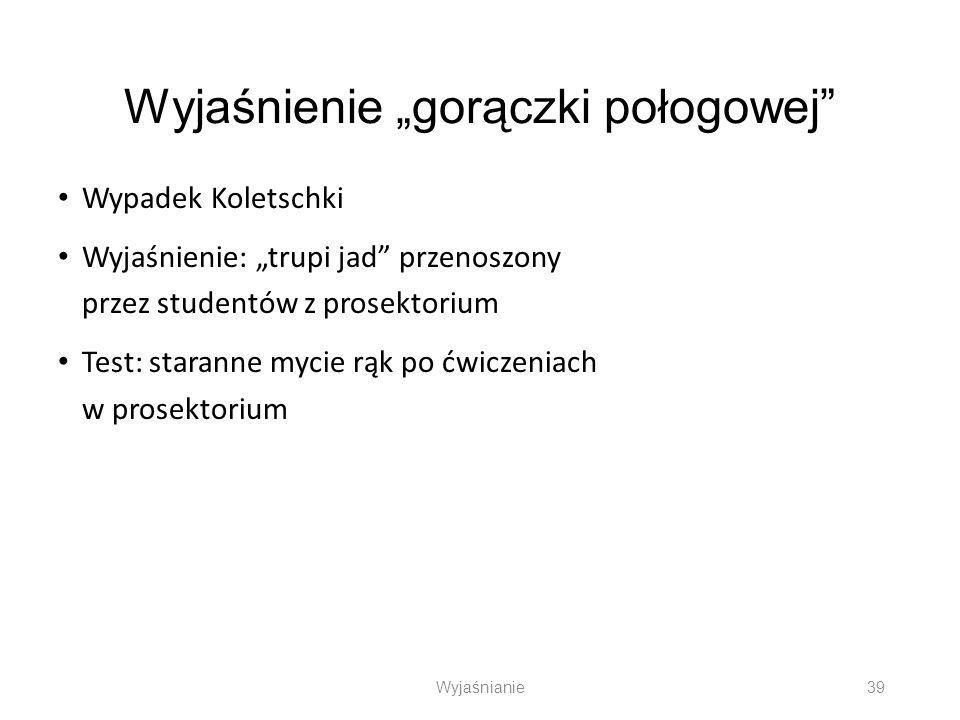 Wyjaśnienie gorączki połogowej Wypadek Koletschki Wyjaśnienie: trupi jad przenoszony przez studentów z prosektorium Test: staranne mycie rąk po ćwicze