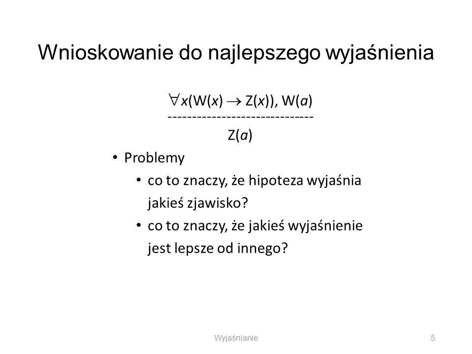 Wnioskowanie do najlepszego wyjaśnienia x(W(x) Z(x)), W(a) ------------------------------ Z(a) Problemy co to znaczy, że hipoteza wyjaśnia jakieś zjaw