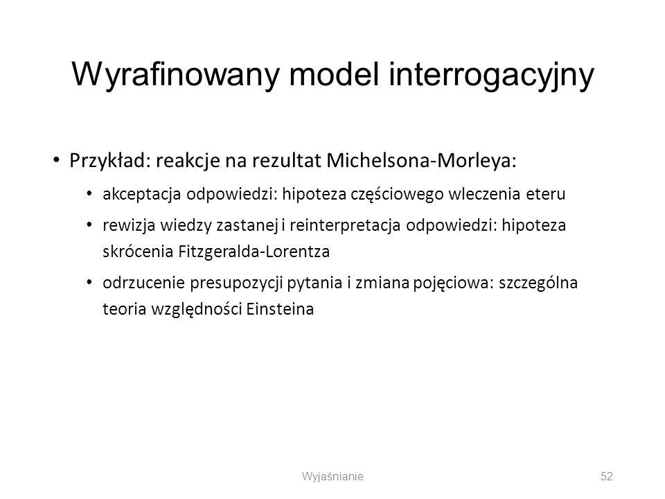 Wyrafinowany model interrogacyjny Przykład: reakcje na rezultat Michelsona-Morleya: akceptacja odpowiedzi: hipoteza częściowego wleczenia eteru rewizj