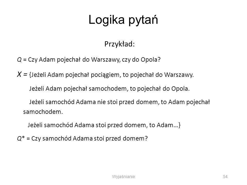 Logika pytań Przykład: Q = Czy Adam pojechał do Warszawy, czy do Opola? X = {Jeżeli Adam pojechał pociągiem, to pojechał do Warszawy. Jeżeli Adam poje