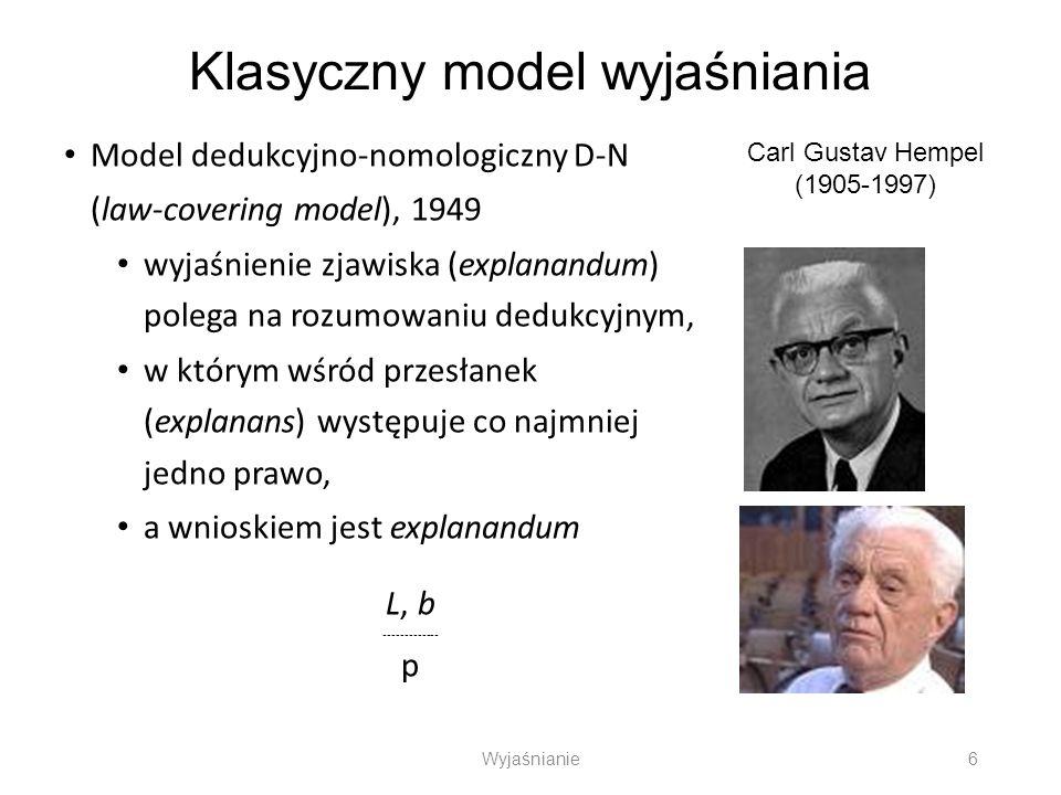 Klasyczny model wyjaśniania Model dedukcyjno-nomologiczny D-N (law-covering model), 1949 wyjaśnienie zjawiska (explanandum) polega na rozumowaniu dedu