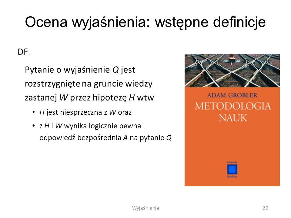Ocena wyjaśnienia: wstępne definicje DF : Pytanie o wyjaśnienie Q jest rozstrzygnięte na gruncie wiedzy zastanej W przez hipotezę H wtw H jest niesprz