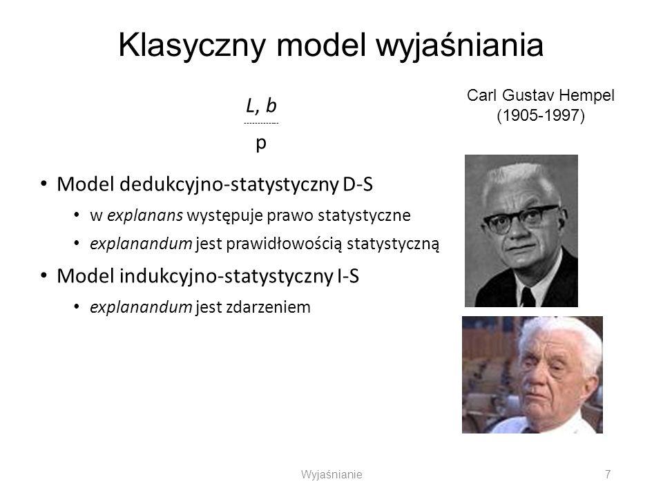 Klasyczny model wyjaśniania L, b ------------- p Model dedukcyjno-statystyczny D-S w explanans występuje prawo statystyczne explanandum jest prawidłow