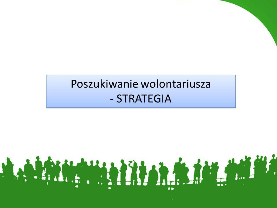 Poszukiwanie wolontariusza - STRATEGIA Poszukiwanie wolontariusza - STRATEGIA