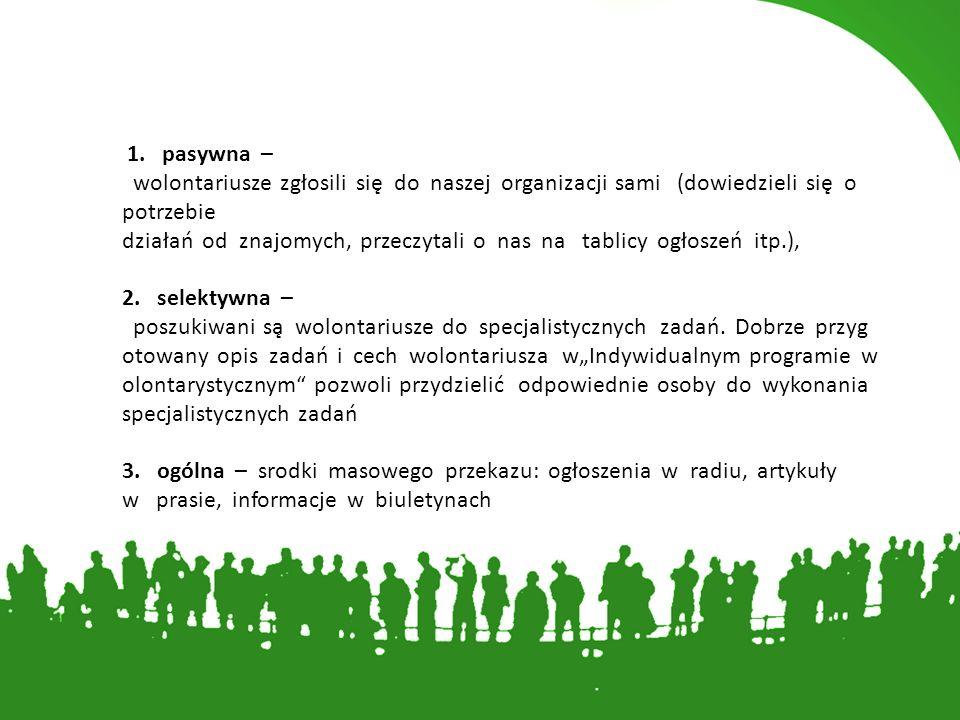 1. pasywna – wolontariusze zgłosili się do naszej organizacji sami (dowiedzieli się o potrzebie działań od znajomych, przeczytali o nas na tablicy