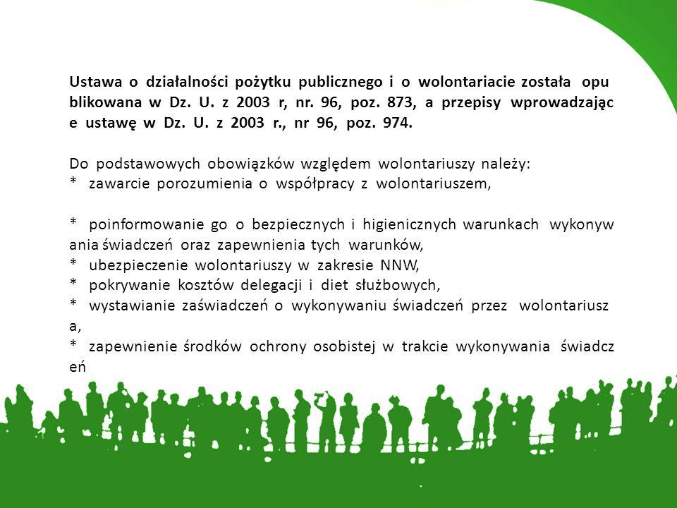 Poza wspomniana ustawą, obowiązuje kilka aktów prawnych, które regulu ją działalność wolontariuszy w wybranych obszarach życia społecznego: * Ustawa z dnia 29 listopada 1990 roku o pomocy społecznej (Dz.U.