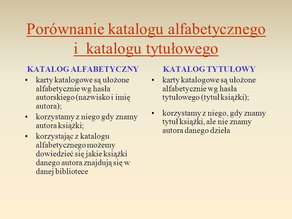 Porównanie katalogu alfabetycznego i katalogu tytułowego KATALOG ALFABETYCZNY karty katalogowe są ułożone alfabetycznie wg hasła autorskiego (nazwisko