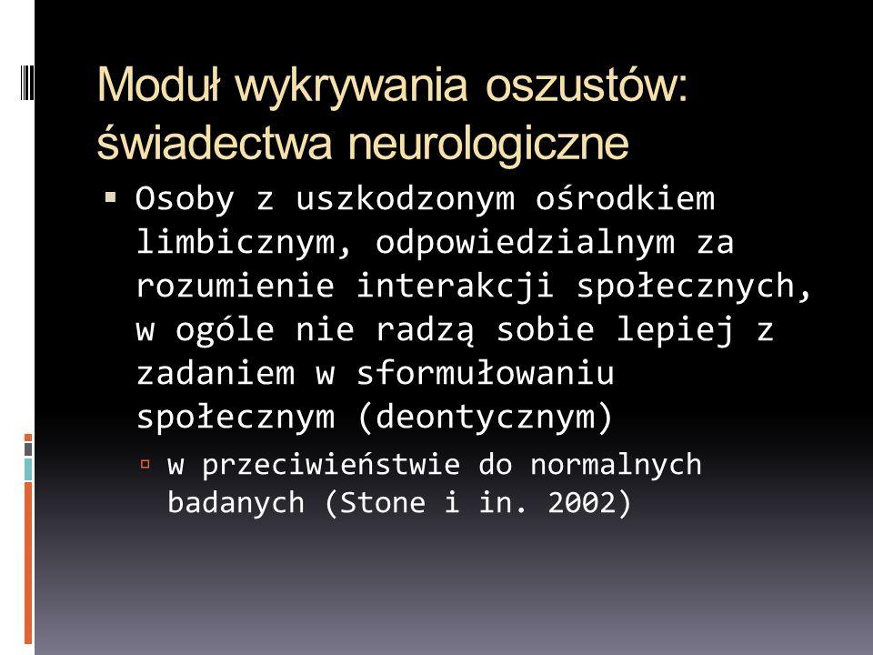 Moduł wykrywania oszustów: świadectwa neurologiczne Osoby z uszkodzonym ośrodkiem limbicznym, odpowiedzialnym za rozumienie interakcji społecznych, w