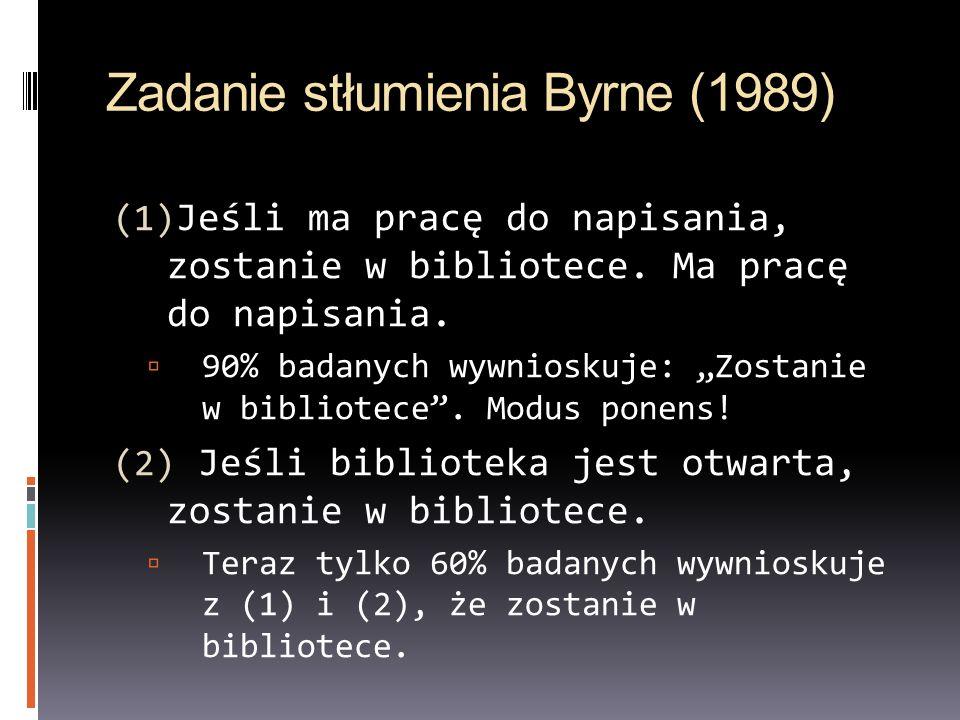 Zadanie stłumienia Byrne (1989) (1) Jeśli ma pracę do napisania, zostanie w bibliotece. Ma pracę do napisania. 90% badanych wywnioskuje: Zostanie w bi