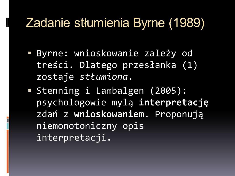 Zadanie stłumienia Byrne (1989) Byrne: wnioskowanie zależy od treści. Dlatego przesłanka (1) zostaje stłumiona. Stenning i Lambalgen (2005): psycholog
