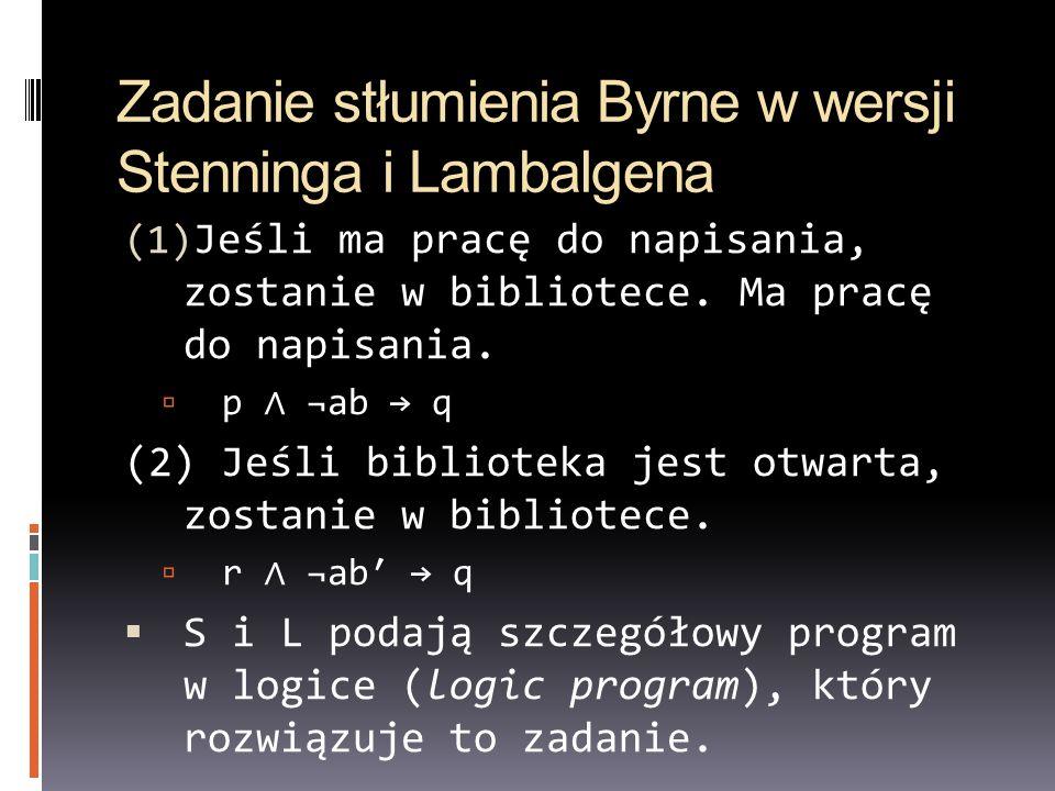 Zadanie stłumienia Byrne w wersji Stenninga i Lambalgena (1) Jeśli ma pracę do napisania, zostanie w bibliotece. Ma pracę do napisania. p ¬ab q (2) Je