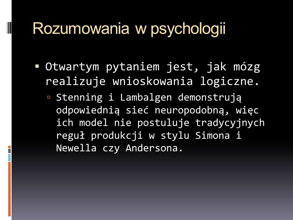 Rozumowania w psychologii Otwartym pytaniem jest, jak mózg realizuje wnioskowania logiczne. Stenning i Lambalgen demonstrują odpowiednią sieć neuropod