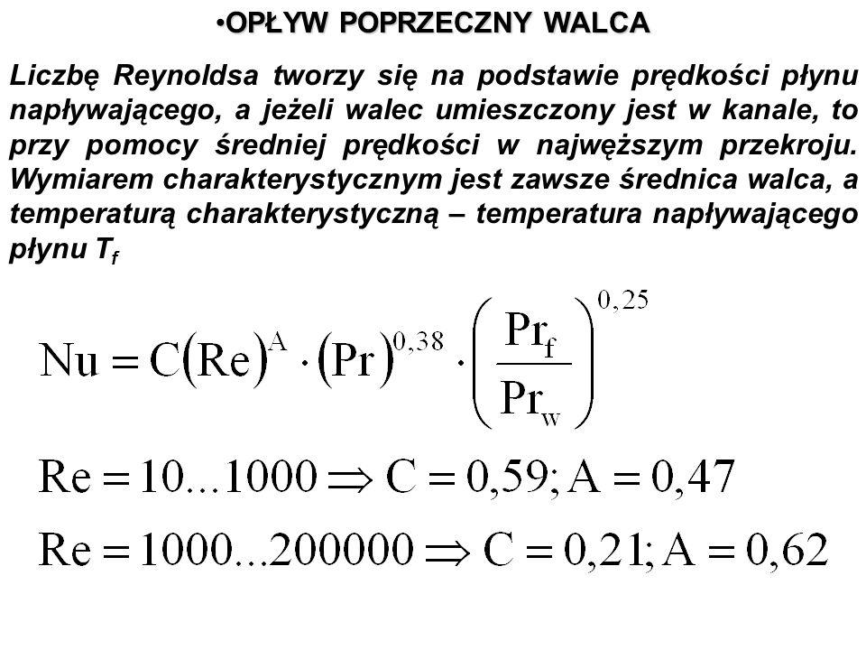 OPŁYW POPRZECZNY WALCAOPŁYW POPRZECZNY WALCA Liczbę Reynoldsa tworzy się na podstawie prędkości płynu napływającego, a jeżeli walec umieszczony jest w