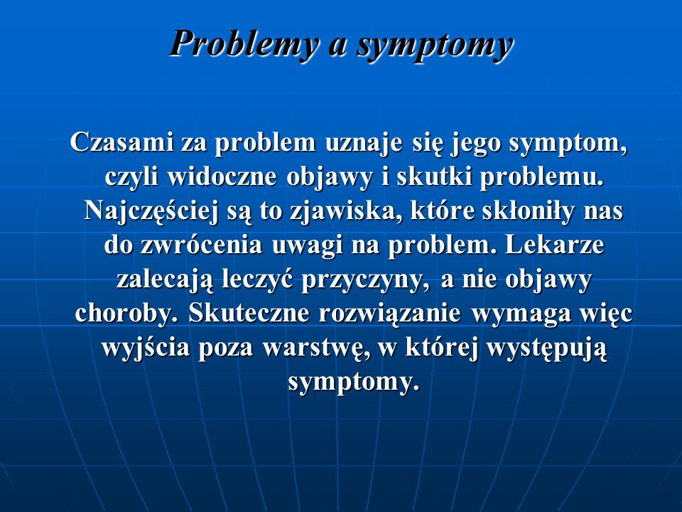 Problemy a rozwiązania Bardzo często za problemy uchodzą ich możliwe rozwiązania.